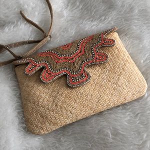 Tommy Bahama rattan straw clutch purse rhinestone